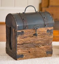 Recycled Wooden Box with Metal Lid | Fireplace accessories ...