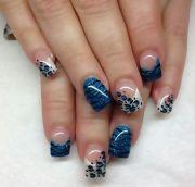 blue french tip design makeup