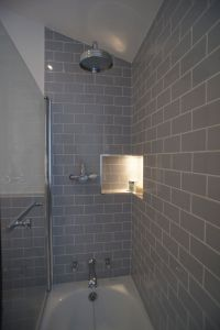 Grey Brick Tiles Bathroom With Cool Inspirational
