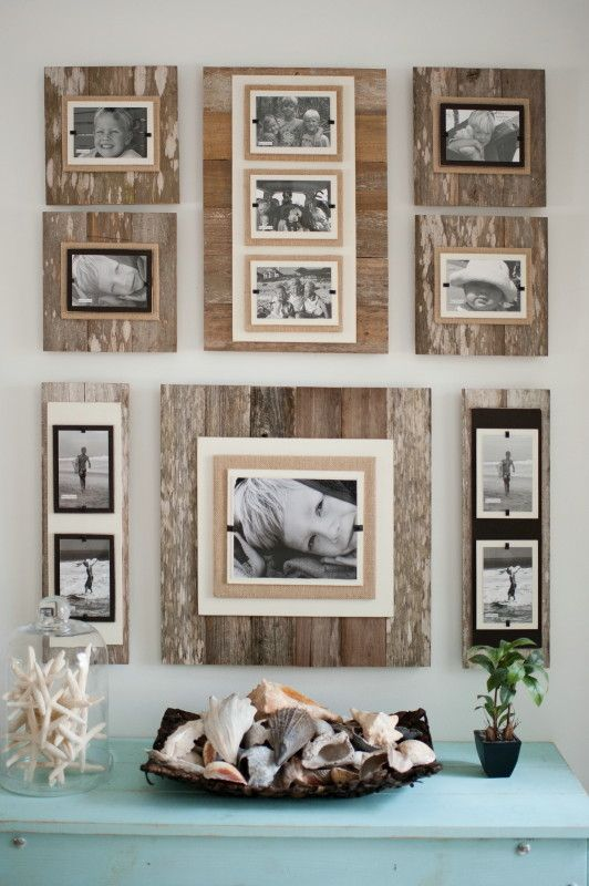 Reclaimed Wood 22 X 22 Frame 8 X 10 Photo- Brown – Classy Country. Distressed frame wall collage