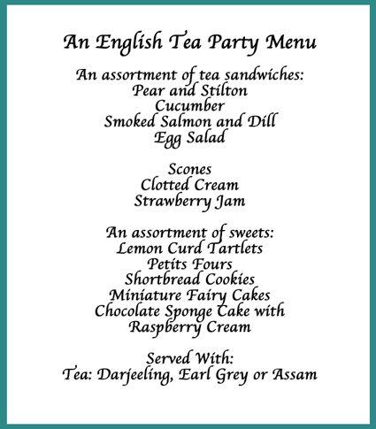 25 Best Ideas About Tea Party Menu On Pinterest Tea Party