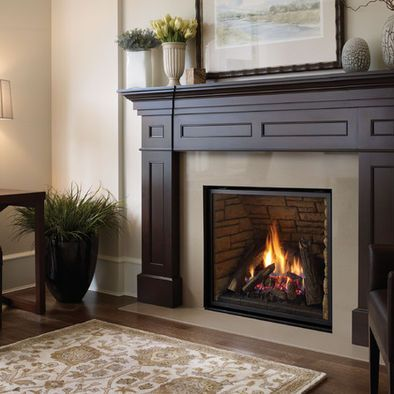 Gas Fireplace  recessed design with white surround with crown molding detail  Home and Garden