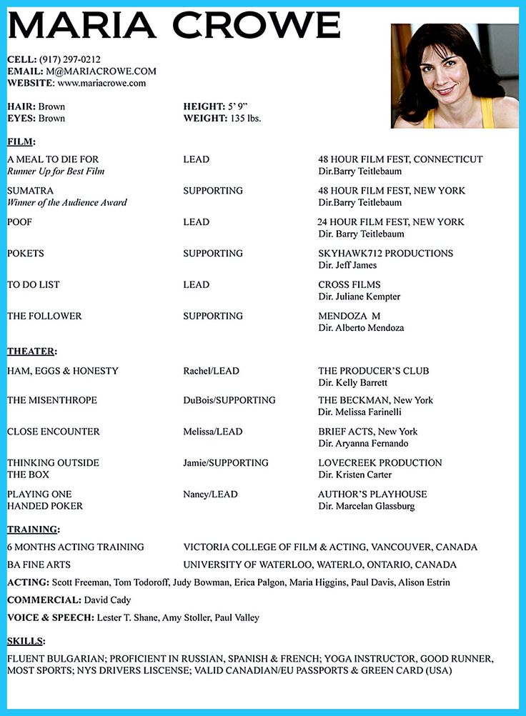 youth acting resume sample