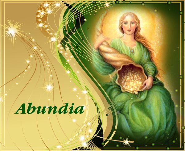 Angel Abundia Angel Abundantia often carries a cornucopia known as the horn of plenty This cornucopia is symbolic of a funnel that continually