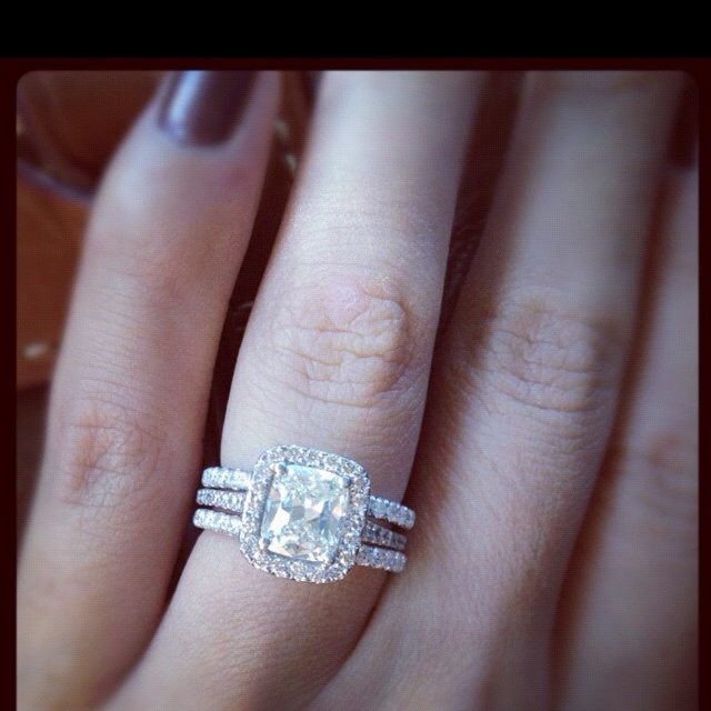 Sisters engagement ring and double wedding band  the day i wear white  Pinterest  Beautiful