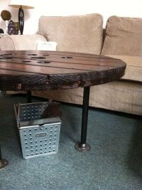 Upcycled LARGE Spool Coffee Table Coffee Table Round by ...