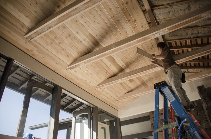 With the tongue and groove cedar the ceiling really starts to take shape  Loft  Pinterest