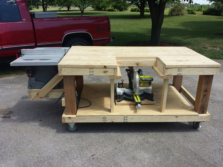 Mobile Workbench Table Saw And Miter Saw Is Moveable By