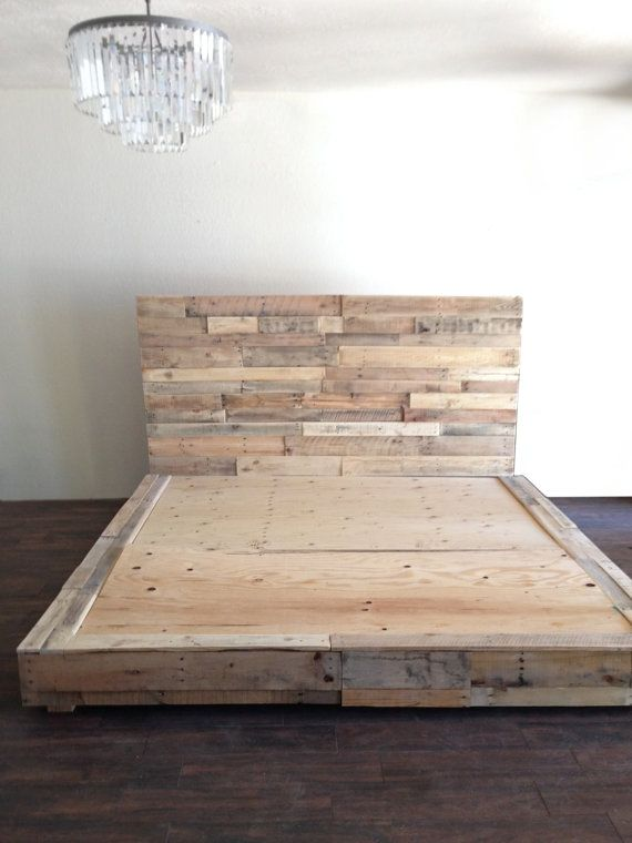 Reclaimed wood platform bed base pallet natural twin full queen king cali king california