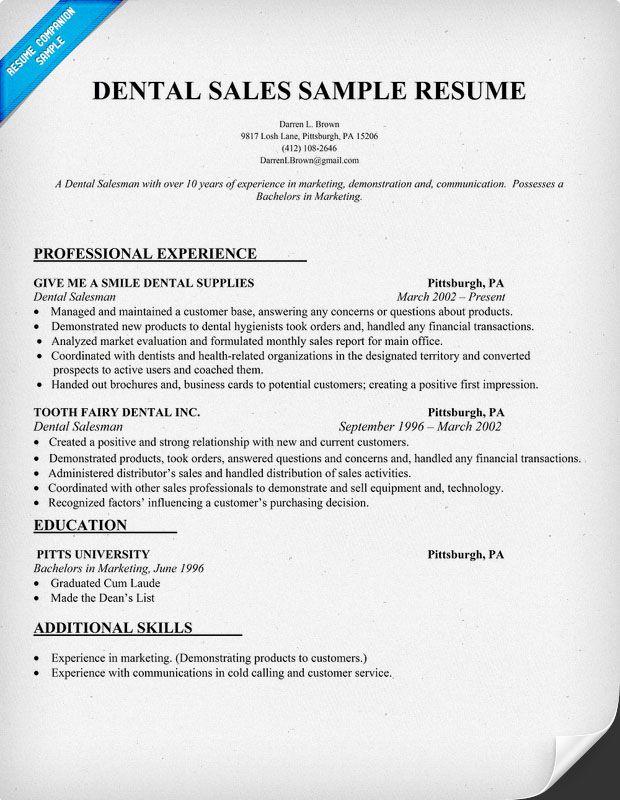 Dental Sales Resume Sample dentist health  Resume Samples Across All Industries  Pinterest