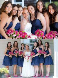 Navy Blue And Hot Pink Bridesmaid Dresses - Bridesmaid Dresses