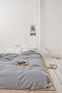 floor mattress, collage & chalkboard headboard