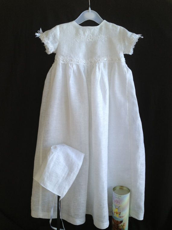 Irish Linen Christening Gown made of Ulster Irish Linen featuring an embroidered celtic knot on