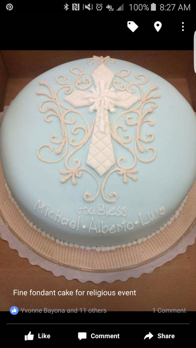 Religious Round Cake For A Boy In Light Blue Rolled