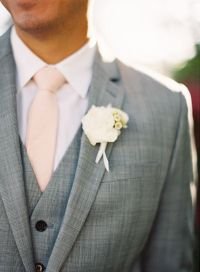 Peach tie, white bout, grey suit | A thousand years ...