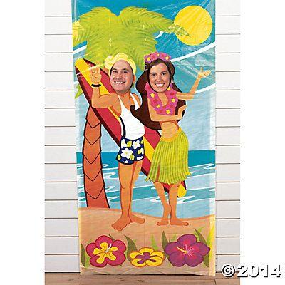 Luau Couple Photo Door Banner