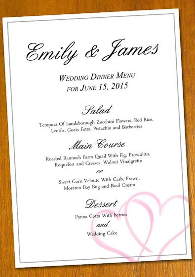 free Wedding Menu template for a DIY projectNote you