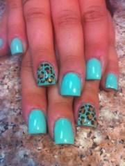 teal cheetah acrylic nails nail