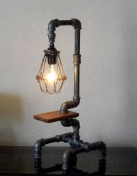Industrial Pipe Desk Table with reclaimed wood lamp. | i ...
