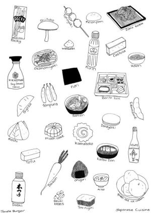 japanese sushi illustration drawings drawing sketch wall simple japon doodles culture illustrations names asian line infographics ak0 easy sketches recipes