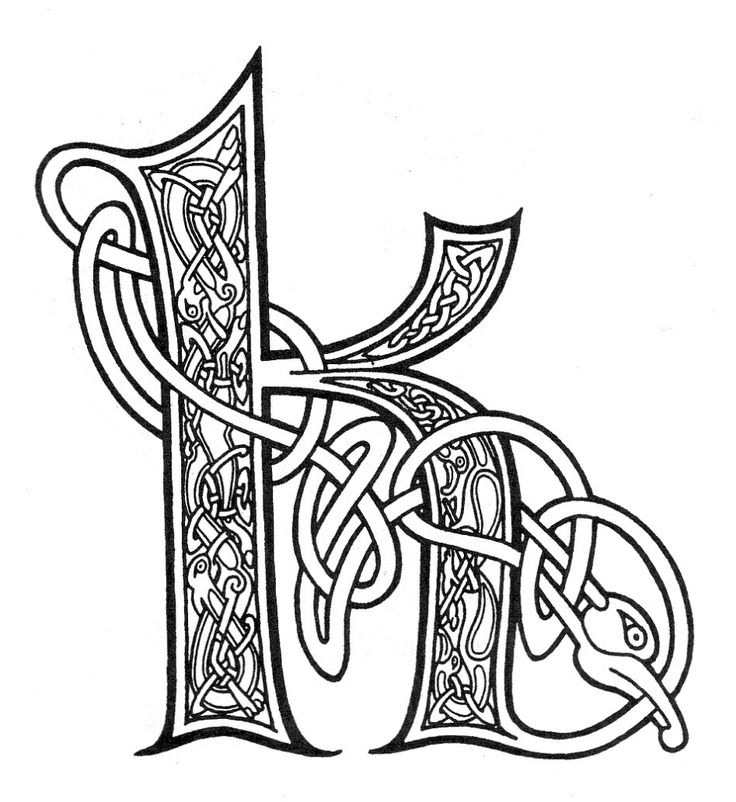 Letter I Coloring Illuminated Letters Pages Designs