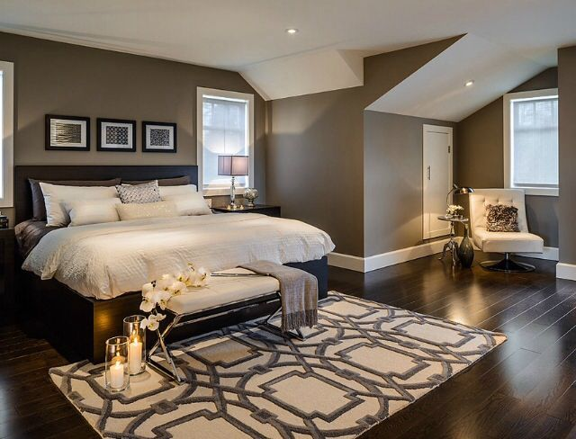 Bedroom Ideas Wall Colour Bm Rockport Gray With Dark Furniture And White Accents