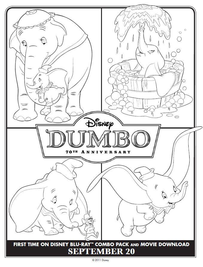 Four mini Dumbo coloring scenes : Printables for Kids
