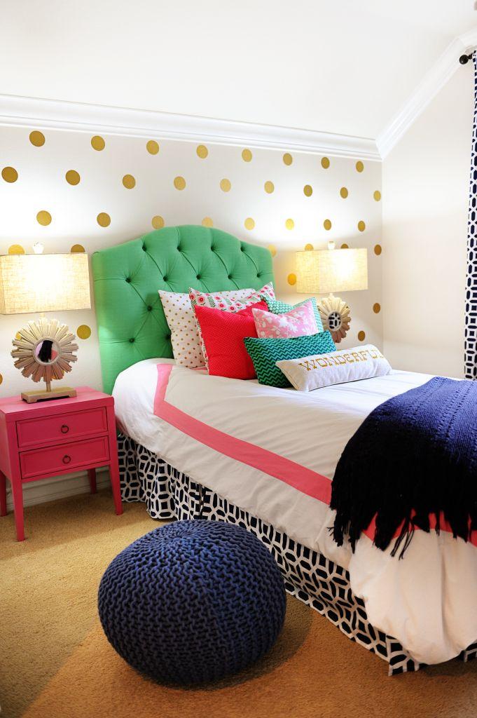 Interior Design: Tween Girl Bedroom Makeover Pink, Navy, Gold and Green – Entertain | Fun DIY Party Craft Ideas