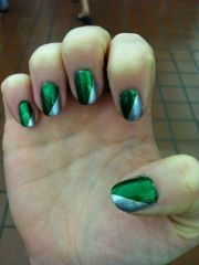 green and silver slytherin nails