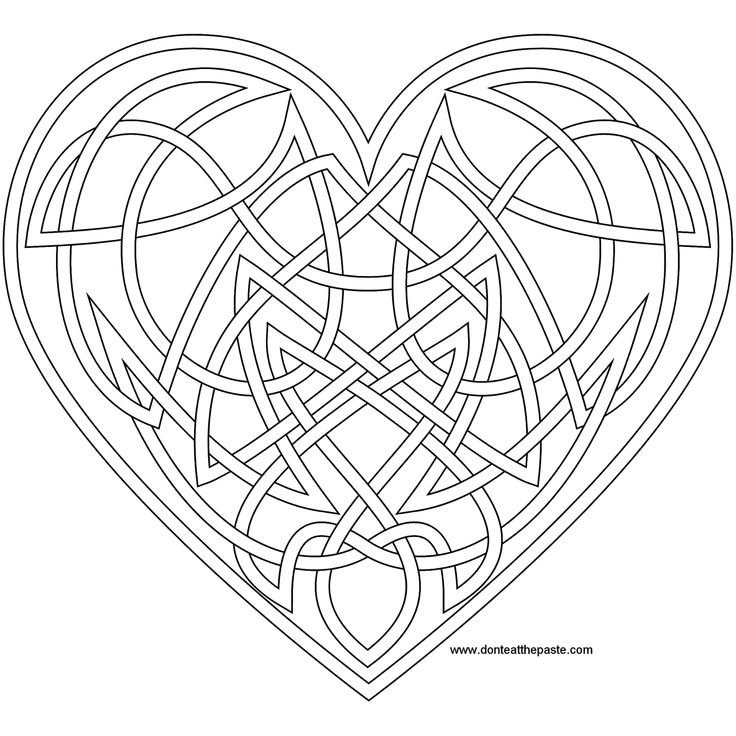 Knotwork heart coloring page- also available as a