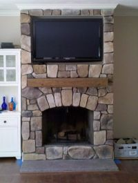 Living Room, : Small Byt Elegant Stone Fireplace Idea With ...