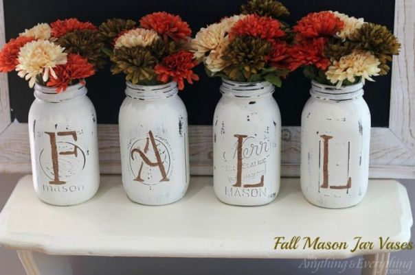 Fall Mason Jar Vases. DIY mantle Thanksgiving decorations. Easy to coordinate for Christmas, Easter, Valentines Day & themed birthday parties.: