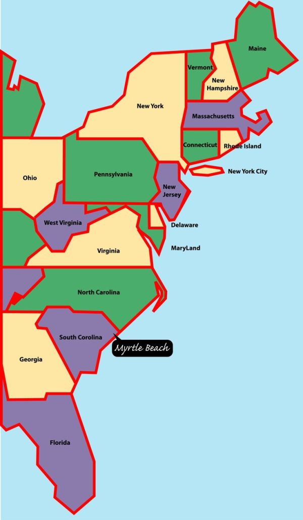 eastcoastmap Myrtle Beach is situated on the east or