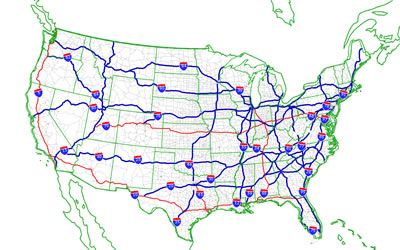 US Freeway and Highway Numbering System Maps