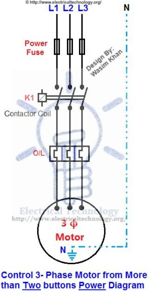 Control 3Phase Motor from more than Two buttons Power