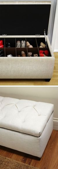 Upholstered Shoe Storage Ottoman // keeps your shoes and ...