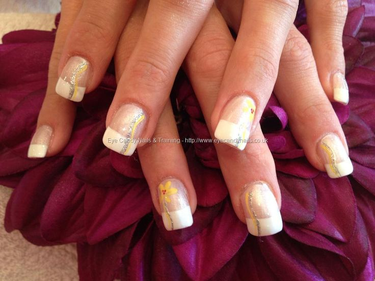 Acrylic Nails With White French Polish And Yellow Flowers