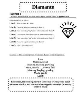 Free Diamante Poem Pattern Poetry For Kids Pinterest