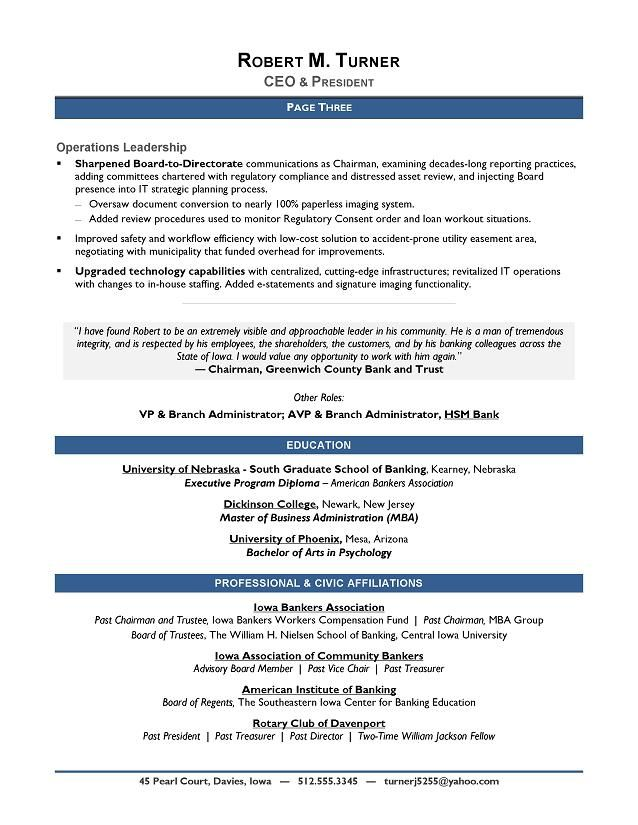 ceo resume templates download