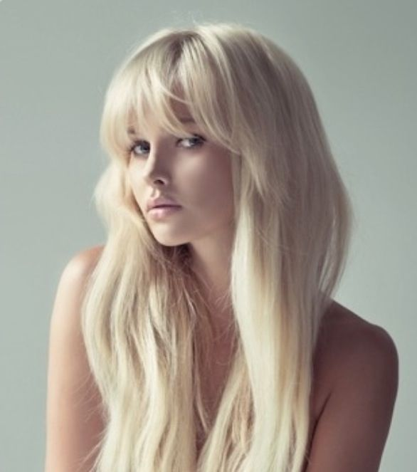 Long Blonde Hair With Wispy Full Front Bangs Great Hairstyle For