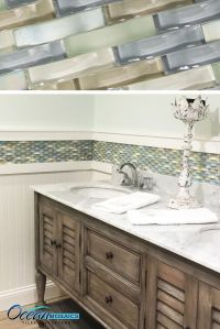 Our client used this backsplash tile as a chair rail