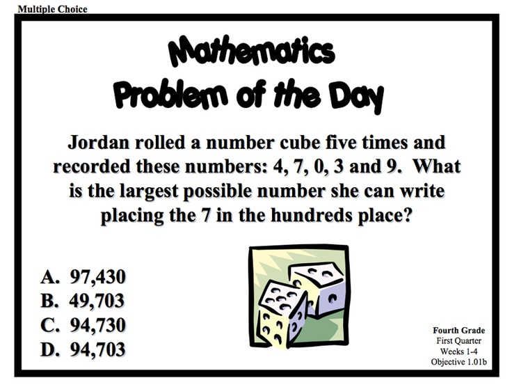 Download a series of Problem of the Day resources for