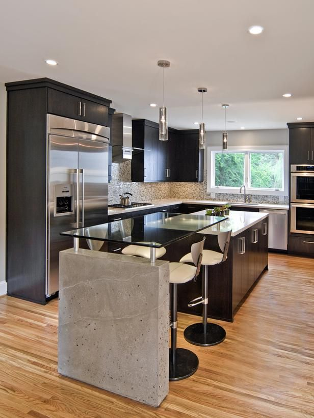 Concrete on the island... Modern Marvel in Sleek Contemporary Kitchen from HGTV