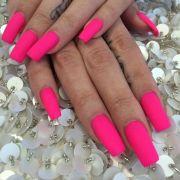 matte pink nails art