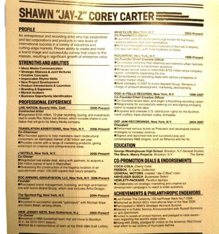 Jay Z's Resume #JayZ #Celebrity Celebrity Resumes