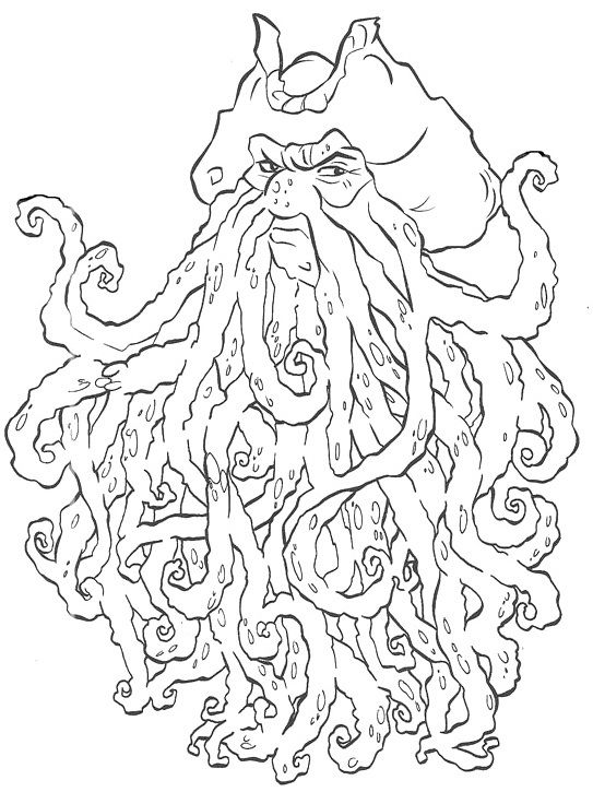 Davy Jones Pirates Of The Caribbean Coloring Pages