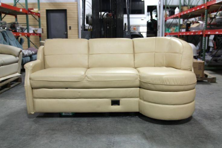 Leather Storage Sofa USED RV MOTORHOME FLEXSTEEL VANILLA LEATHER