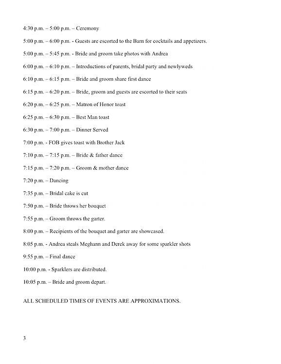 reception timeline template