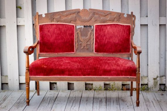 Antique Victorian Eastlake Upholstered Bench By