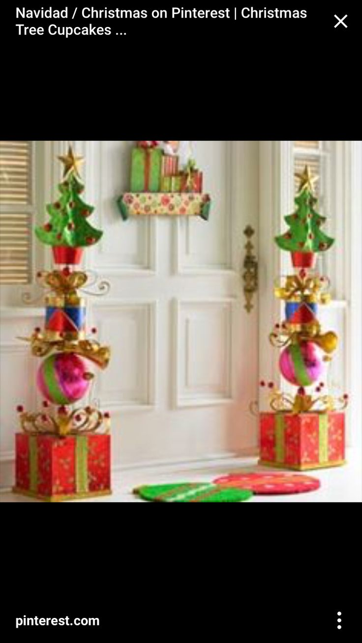 Stacked Glitter Presents Topiary  Christmas Decor  Pinterest  Glitter Topiaries and Presents